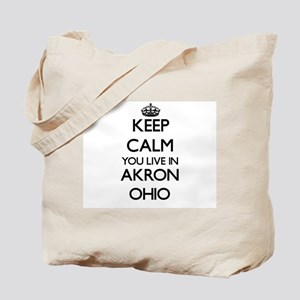 Keep calm you live in Akron Ohio Tote Bag