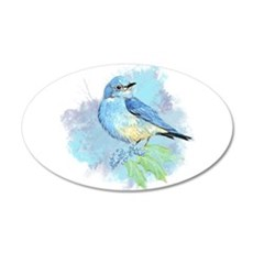 Watercolor Bluebird Pretty Blue Garden Bird Art De