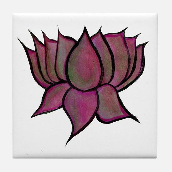 Pink Lotus Flower Tile Coaster