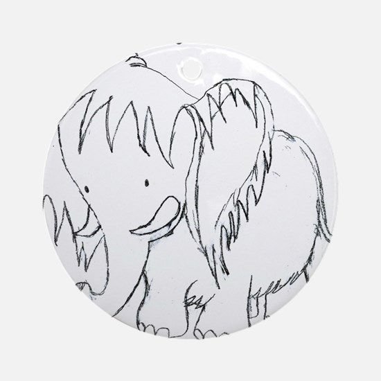 The Fuzzy Elephant Ornament (Round)