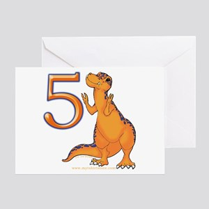 Kids Dino 5th Birthday Invitation Card