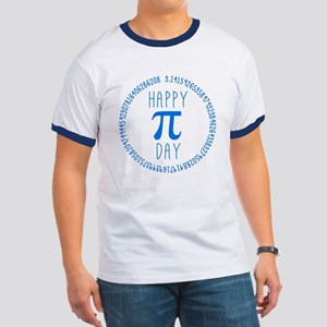 Happy Pi Day in Blue Ringer T