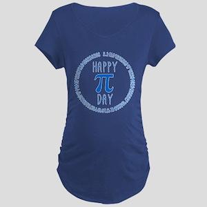 Happy Pi Day in Blue Maternity Dark T-Shirt