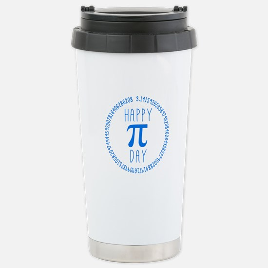Happy Pi Day in Blue Stainless Steel Travel Mug