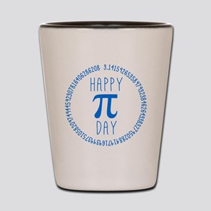 Happy Pi Day in Blue Shot Glass