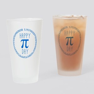 Happy Pi Day in Blue Drinking Glass