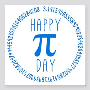 """Happy Pi Day in Blue Square Car Magnet 3"""" x 3"""""""