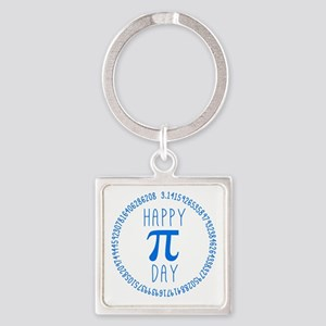 Happy Pi Day in Blue Square Keychain