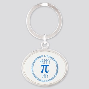Happy Pi Day in Blue Oval Keychain