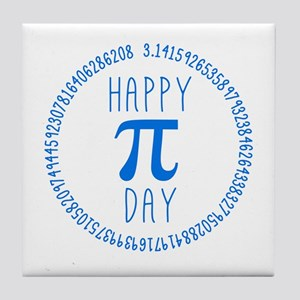 Happy Pi Day in Blue Tile Coaster