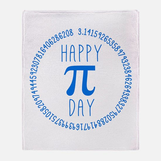 Happy Pi Day in Blue Throw Blanket