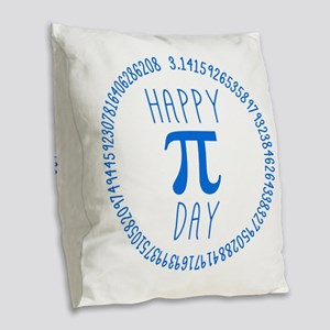 Happy Pi Day In Blue Burlap Throw Pillow
