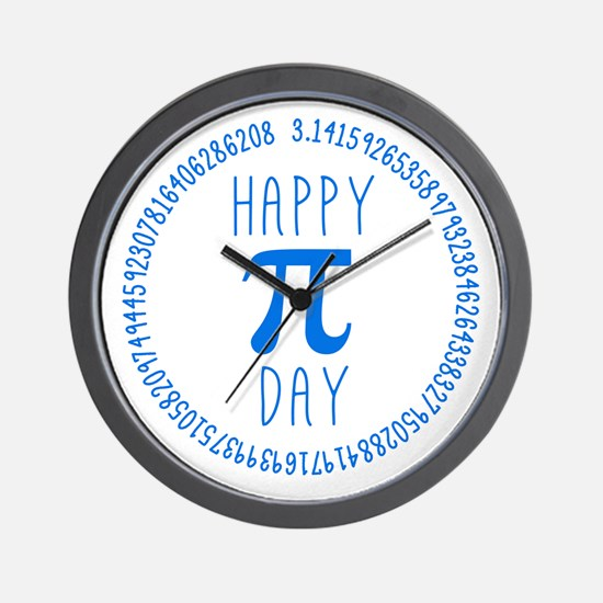 Happy Pi Day in Blue Wall Clock