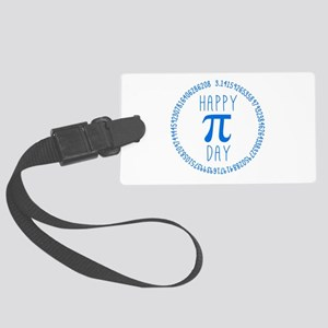 Happy Pi Day in Blue Large Luggage Tag