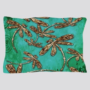 Dragonfly Turquoise Swirl Pillow Case