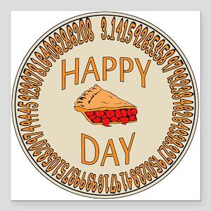 "Happy PI Day Cherry Pie Square Car Magnet 3"" x 3"""