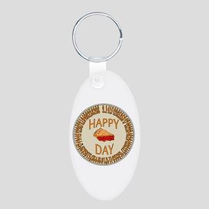 Happy PI Day Cherry Pie Aluminum Oval Keychain