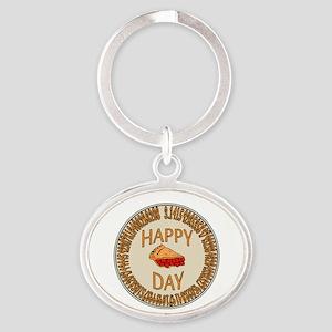 Happy PI Day Cherry Pie Oval Keychain