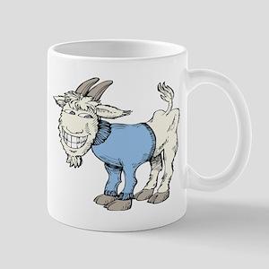 Silly Cartoon Goat in Blue Sweater Mug