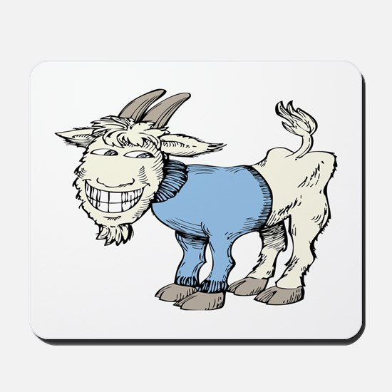 Silly Cartoon Goat in Blue Sweater Mousepad