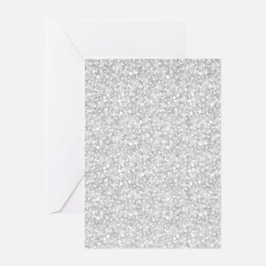 Silver Gray Glitter Sparkles Greeting Cards