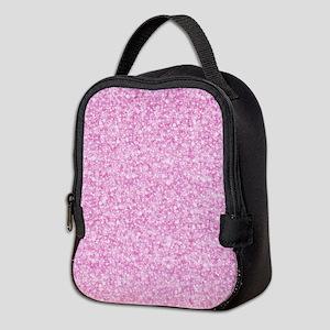 Pink Glitter & Sparkles Backgro Neoprene Lunch Bag