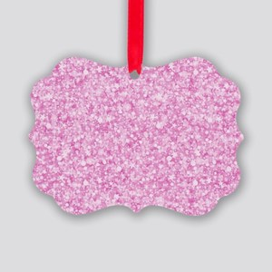 Pink Glitter & Sparkles Backgroun Picture Ornament
