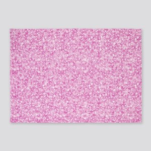 Pink Glitter & Sparkles Background 5'x7'Area Rug