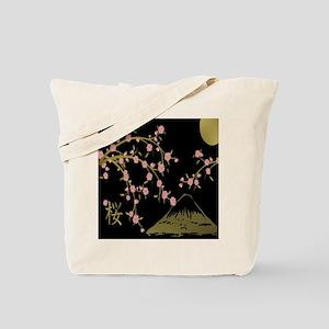 Pink Sakura Gold Black Tote Bag