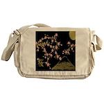 Pink Sakura Gold Black Messenger Bag