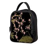 Pink Sakura Gold Black Neoprene Lunch Bag