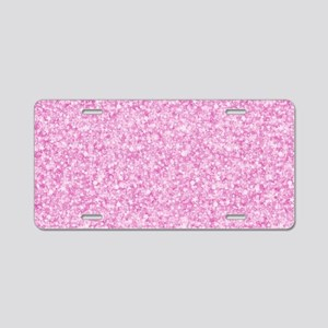 Pink Glitter & Sparkles Bac Aluminum License Plate