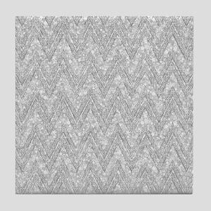 Silver Glitter & Sparkles Chevron Pat Tile Coaster
