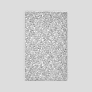 Silver Glitter & Sparkles Chevron Pattern Area Rug