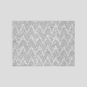 Silver Glitter & Sparkles Chevron P 5'x7'Area Rug
