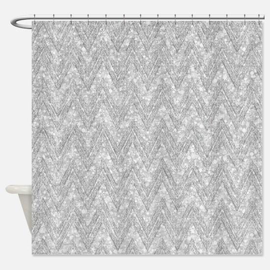 Silver Glitter & Sparkles Chevron P Shower Curtain