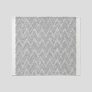 Silver Glitter & Sparkles Chevron Pa Throw Blanket