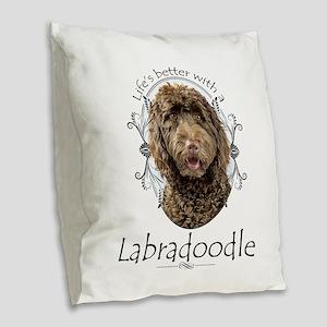 Labradoodle Burlap Throw Pillow