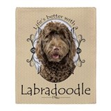 Chocolate labradoodle Fleece Blankets