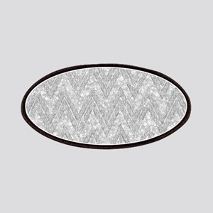 Silver Glitter & Sparkles Chevron Pattern Patch