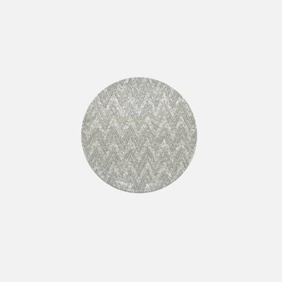 Silver Glitter & Sparkles Chevron Patt Mini Button