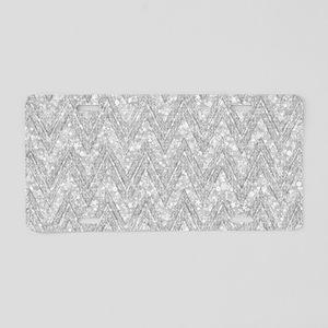 Silver Glitter & Sparkles C Aluminum License Plate