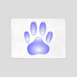 Glass Dog Paw Print 5'x7'Area Rug