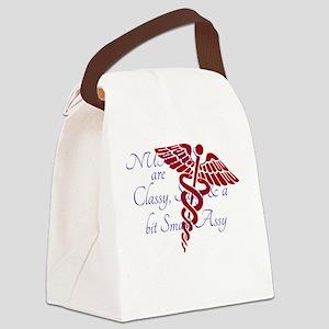 NURSES CLASSY,blue Canvas Lunch Bag
