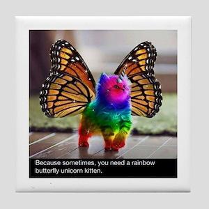 Rainbow butterfly kitten Tile Coaster