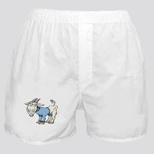 Silly Cartoon Goat in Blue Sweater Boxer Shorts