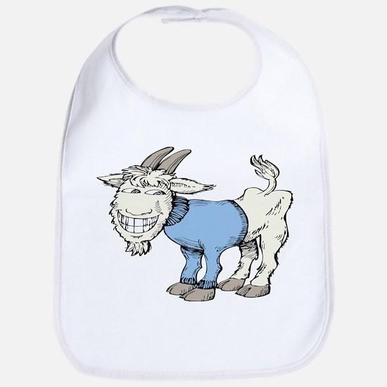 Silly Cartoon Goat in Blue Sweater Bib