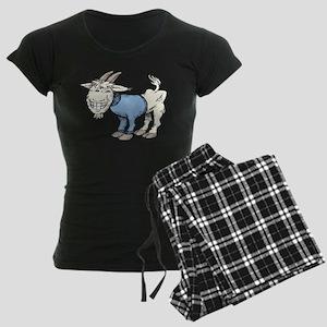 Silly Cartoon Goat in Blue S Women's Dark Pajamas