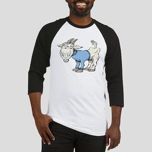 Silly Cartoon Goat in Blue Sweater Baseball Jersey