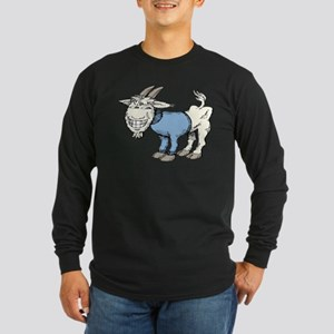 Silly Cartoon Goat in Blue Swe Long Sleeve T-Shirt